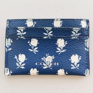 Coach Leather Blue Floral Flower Card Case Wallet